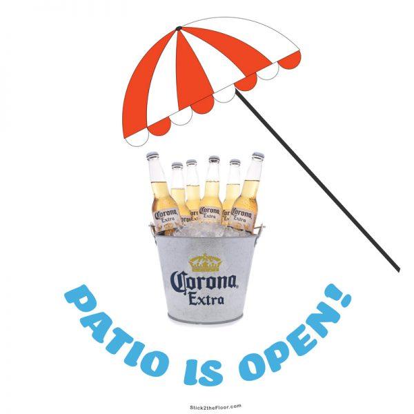 patio open with beer